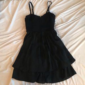 Silk Black Bustier Tier Dress